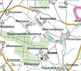 знаком на карте обозначено место